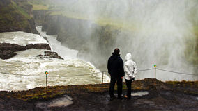 Young couple at Gullfoss Waterfall Royalty Free Stock Image