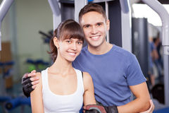 Young couple in a gym Royalty Free Stock Photo