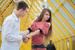 Young couple with handcuffs. Young couple with the handcuffs Royalty Free Stock Photography