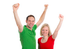 Young couple with hands up Stock Photo