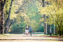 Young couple, handsome man and attractive woman on tandem bike in sunny summer park or forest. stock image