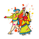 Young couple for Happy Holi festival celebration. stock illustration