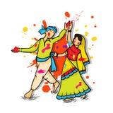 Young couple for Happy Holi festival celebration. Stock Photo