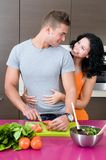 Young couple happy in the kitchen Stock Photo