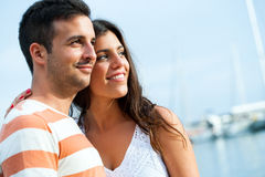 Young couple in harbor. Royalty Free Stock Photos