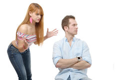 Young couple have an argument because of relationship crisis Stock Images
