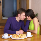Young couple have a breakfast stock images