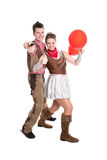 Young couple have fun in carnival time - isolated on white Stock Photography