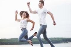 Young couple have fun in the summer stock image