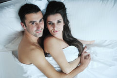 Young couple have good time in their bedroom Stock Image