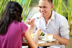 Young couple have a lunch together Stock Images