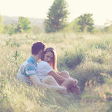 Young couple have romantic date stock photo