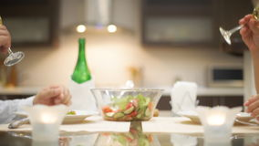Young couple have romantic dinner with champagne. stock footage