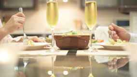 Young couple have romantic dinner with champagne. stock video