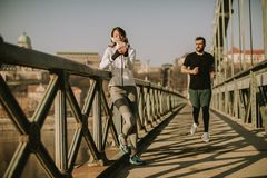 Young couple have training in urban enviroment royalty free stock photos