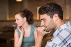 Young couple having an argument. At the cafe Royalty Free Stock Photo