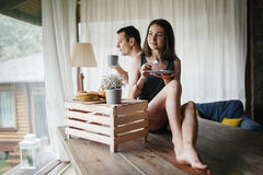 Young couple having breakfast Royalty Free Stock Photo