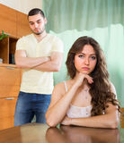 Young couple having conflict at home Stock Photos
