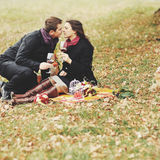 Young couple having date in autumn park Royalty Free Stock Images