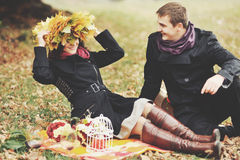 Young couple having date in autumn park. Stock Photography