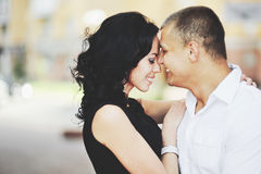 Young couple having date downtown. Royalty Free Stock Photo