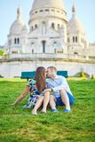 Young couple having a date on Montmartre, Paris, France Stock Images