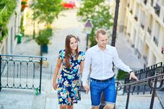 Young couple having a date on Montmartre, Paris, France Royalty Free Stock Photos