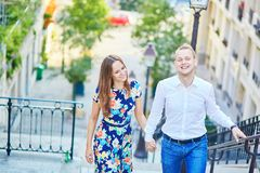 Young couple having a date on Montmartre, Paris, France Royalty Free Stock Photography