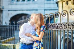 Young couple having a date on Montmartre, Paris, France Stock Image