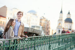 Young couple having a date outdoors Royalty Free Stock Image