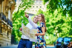 Young couple having a date in Paris, France Stock Photo