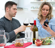 Young couple having dinner. Royalty Free Stock Images