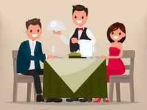 A young couple having dinner in a restaurant. Man and woman sitt. Ing at the table, the waiter brought a dish. Vector illustration in a flat style Royalty Free Stock Photography
