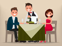 Young couple having dinner in a restaurant. Man and woman sittin. G at the table, the waiter shows the wine. Vector illustration in a flat style Royalty Free Stock Images