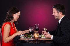 Young Couple Having Dinner With Wine Stock Image