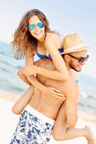 Young couple having fun at the beach Stock Photography