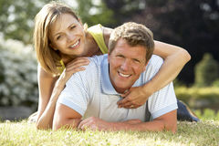 Young couple having fun in countryside Royalty Free Stock Image