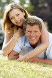 Young couple having fun in countryside Royalty Free Stock Images
