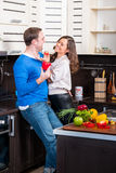 Young couple having fun in the kitchen Stock Images