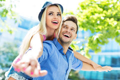 Young couple having fun outdoors Stock Image