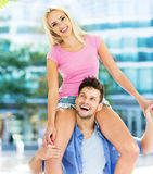 Young couple having fun outdoors Stock Photography