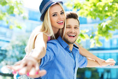 Young couple having fun outdoors Royalty Free Stock Image