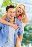 Young couple having fun outdoors Royalty Free Stock Images