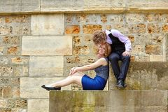 Young couple having fun at Parisian embankment Stock Photography