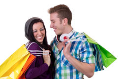 Young couple having fun while shopping Stock Photos