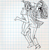 Young couple having fun sketch illustration Stock Photo