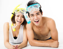 Young couple having fun on summer vacation Stock Image