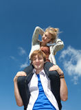 Young couple having fun in sunny day Stock Photos