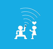 Young couple having fun together with mobile phone. Vector illustration Royalty Free Stock Photography