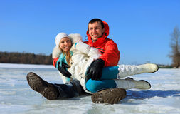Young couple having fun on winter day Royalty Free Stock Photo